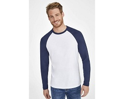 Tee-shirt manches longues bicolore homme