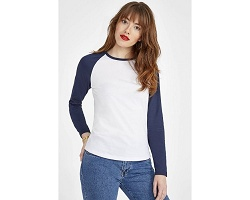 Tee-shirt manches longues bicolore femme